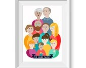 Custom Family Artwork A3 Large Print Portrait