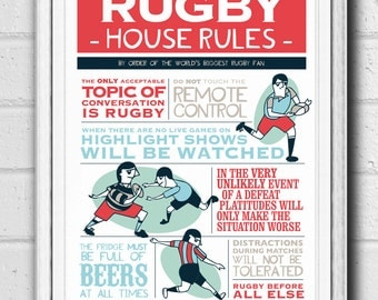 Rugby House Rules Typographic Illustrated Printable Poster