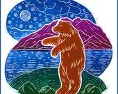 Ursa Lunar Bear Blank Hand Made Card, Archival print of an original linocut.