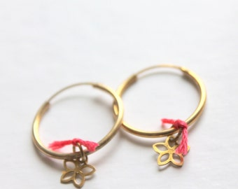 flower hoop earrings in gold