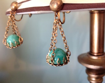 Vintage Dangle Earrings,  50's Earrings, Aqua Stone Earrings, Screw Back Earrings,