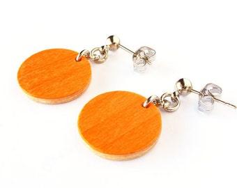 Dangle & Drop earrings, Lightweight earrings, Minimal earrings, Circle wood earring, Long earrings, Dangle earrings, Jewelry woman, Handmade