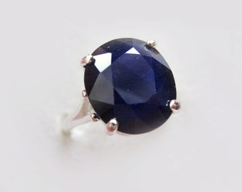 Natural Cornflower Blue Sapphire In Sterling Silver Ring, 6.20ct. Size 5.75
