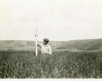 "Vintage Photo ""Measuring Growth"" Farm Snapshot Photo Old Antique Photo Black & White Photograph Found Photo Paper Ephemera Vernacular - 178"