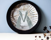 ceramic wall art, SAINT BADGER, whimsical, quirky animal wall art, ceramic wall plate, black, gold, unique wall hanging plate, karoArt