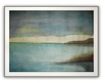 "Ocean Bay - Original Watercolor Painting - Seascape Abstract Beach Painting - Landscape Painting - large  12""x16"""