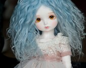1/3 Size Short Light Blue Wavy Tibetan Mohair Wig for Volks BJD SD MSD Rosenlied Holiday and Pullip Dolls