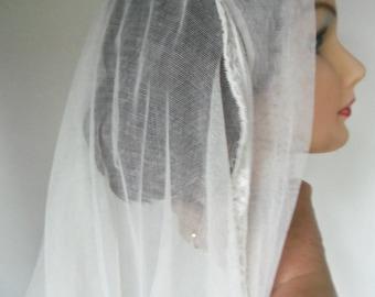 Vintage Antique Wedding Veil Cotton Tulle Lace