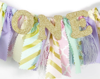 Pink, Mint, Gold, Lavender, Pale Yellow and Light Blue Girl's Birthday Party - Rag Banner - Photography Prop - Golden Birthday