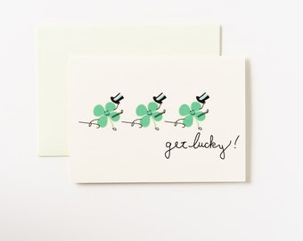 Get Lucky Clovers Greeting Card