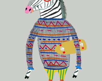Rad Zebra. Art print for all ages. Illustration - wall decor - Kids room - Nursery. (limited edition).