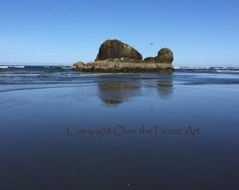 Beach Photography Beach Card Handmade Photo Greeting Card Landscape Rock in Surf on Copalis Beach