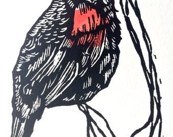 Black Bird 5x7 Linocut Print