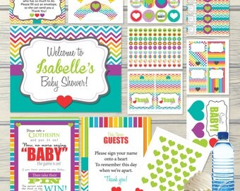 Rainbow Baby Shower Party Package Decorations, Activities, Games U0026 Banners  Kit, Gender