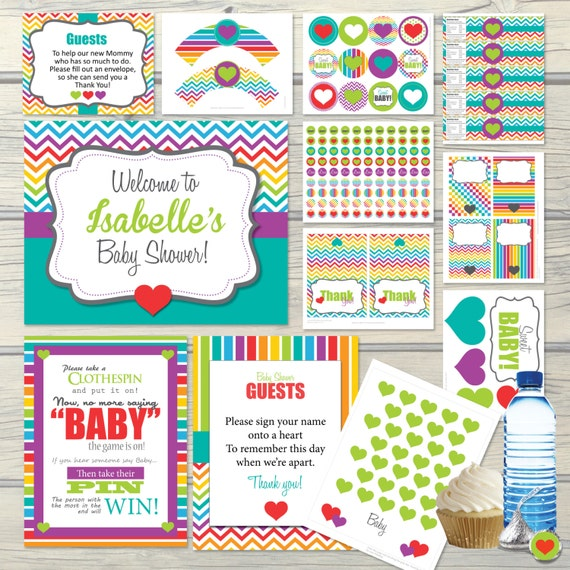 rainbow baby shower party package decorations activities games