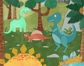 Prehistoric Gathering - Stretched Canvas Wall Art for Kids