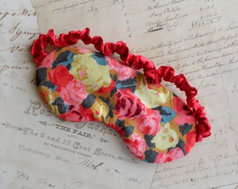 Liberty of London Sleep Mask in Roses // Pink, Red, Yellow, Cotton & Satin