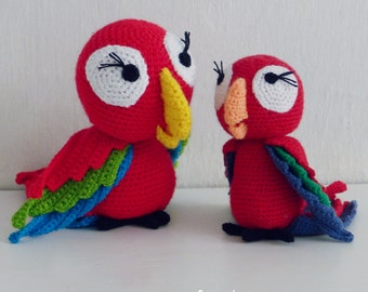Crochet Amigurumi Parrot Pattern PDF - red parrot amigurumi Toy crochet pattern - Instant DOWNLOAD