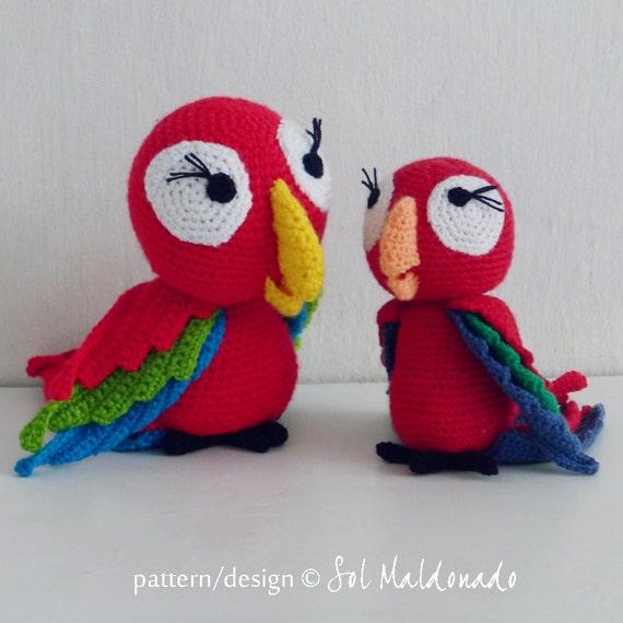 Amigurumi Parrot Pattern : Crochet Amigurumi Parrot Pattern PDF red parrot amigurumi