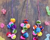 Stripey Color Pom Pom Charm, Llama Swag, Tassel Decoration, Bohemian Gypsy Fashion, Happy Summer, Fall Accessory, Purse Charm, Asstd Colors