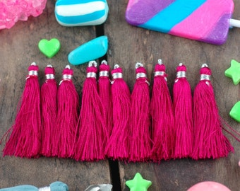 "Tassel Ten Pack in Fuchsia Pink, Art Silk Tassels from India, 2"", Mala Tassels, Yoga Jewelry Making, Craft Supplies, Fall Fashion Trend"