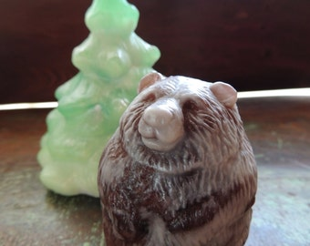 BEAR SOAP with Tree, Set of 2, Woodland Bear with Spruce Tree, Novelty Soap Set, Bear Soap with Tree, Stocking Stuffer, Custom Scented