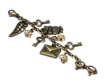 Antique Brass Handbag Charm Keychain With Owl Letter Pair of Glasses Three Golden Shadow Swarovski Crystal Stars Fantasy Accessory Keys Wing