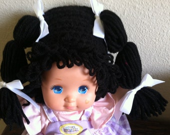 Cabbage Patch Kid Style Crocheted Black Wig Hat Halloween Costume for Baby Girls Size Newborn to 12 Months