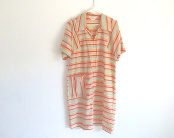 1970s rainbow striped loungewear / beach cover up / nightgown