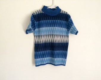 1970s girls zig zag RETRO hippie turtleneck sweater