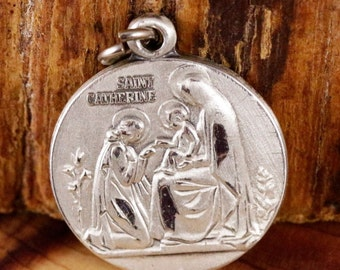 Saint Catherine Vintage Sterling Jewelry Religious Medal Pendant on 18 inch sterling silver rolo chain