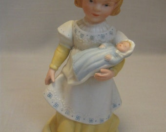 Porcelain Figurine A Mother's Love Girl With Doll Handcrafted For Avon 1981