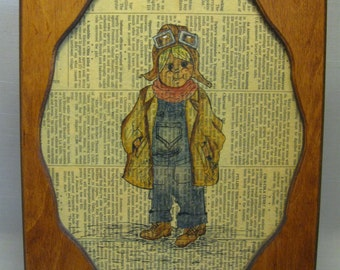 Wood Frame Wall Hanging  Aviator Little Boy Sketch On Wall Street Journal News Paper 1980