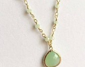 Gold Mint Green Necklace. Mint Opal Necklace. Long Necklace.Beaded Necklace. Layered.Chrysoprase Necklace.Green Necklace.Mint Green Necklace