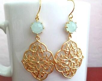 Mint Gold Dangle Earrings. Mint Earrings. Light Mint Earrings. Seafoam.Pale Blue Earrings. Gold Pendant Earrings.Mint Green.Bridesmaid Gifts