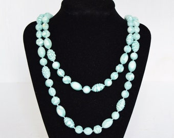 Vintage Long Beaded Necklace in Light Turquoise or Teal