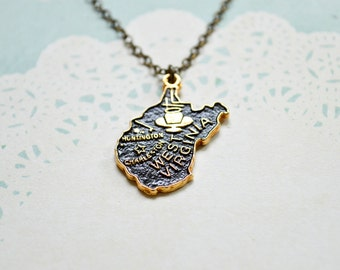 Vintage West Virginia Necklace - State Necklace - Huntington - Charleston - State Jewelry - West Virginia Jewelry - Souvenir - Hand Painted