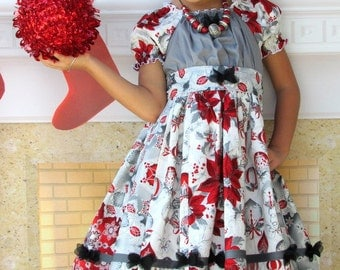 """Girls Christmas Dress """"Sparkle""""  size 2-8  Childrens Holiday Clothing"""