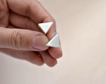Triangle - gold rim white porcelain triangle earrings - geometric ceramic earrings posts studs - Jasmin Blanc jewelry