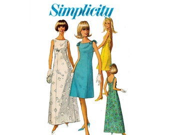 1960s Dress in 2 Lengths Formal Bridal party wedding 60s fashion Size 12 Bust 32 UNCUT Vintage Sewing Pattern Simplicity 7085