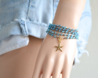 Starfish Crochet Wrap Bracelet Starfish Beach Bracelet Friendship Bracelet Beaded Crochet Necklace Crochet Wrap Bracelet Boho Jewelry