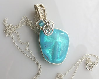 Turquoise Wire Wrap Dichroic Glass Opal Pendant Sterling Silver Fill On Sterling Silver Necklace