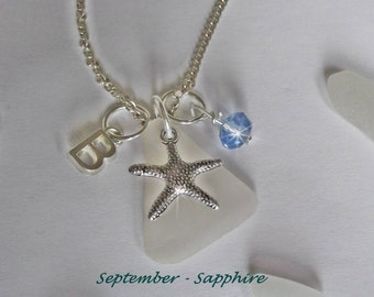 September Birthstone necklace- Personalized necklace - Beach glass jewelry - Sea glass necklace