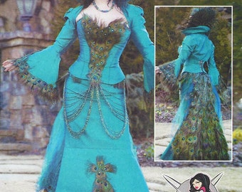 Yaya Han's Original Peacock Costume McCalls Sewing Pattern M7218 Womens Peacock Jacket, Corset & Skirt Size 14 16 18 20 22 Bust 36 to 44 FF