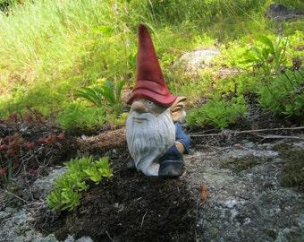 Gnome Statue, Garden Gnome, Cement Statue, Painted Concrete Gnome Figure, Garden  Statues