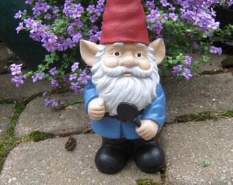 Gnome Statue, Gardening Gnome With Trowel, Gnomes For Garden, Traditional Gnomes, Concrete Gnome, Cement Gnomes Cast In Stone, Fantasy Art