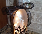 Frosted Lighted Wine Bottle with a Damask Design in Black