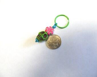 Day Of The Dead Keychain Keyring Sugar Skull Green