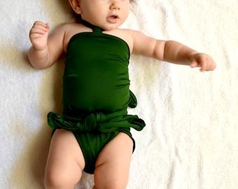 Baby Bathing Suit Hunter Green Wrap Around Swimsuit Toddler Girls Swimwear Handmade in the USA
