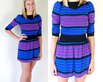 vtg 80s colorful STRIPED puff sleeve DOLLY mini DRESS xs/xxs retro hipster blue fushia black